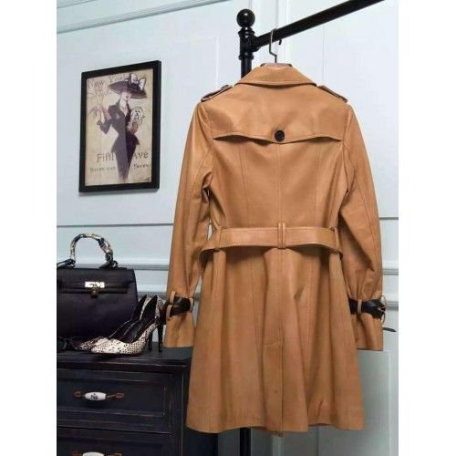 Burberry long trench original leather beige