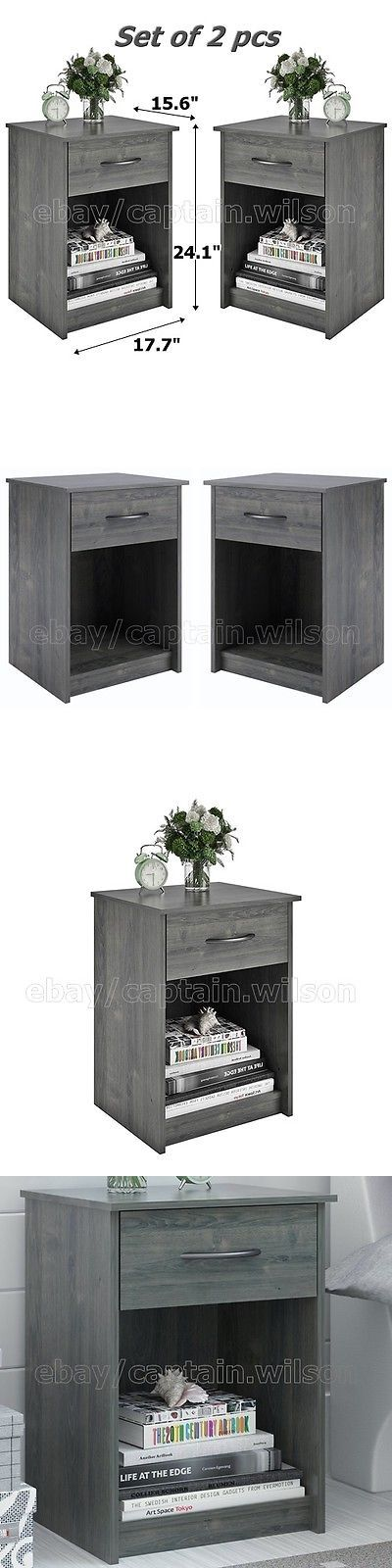 Nightstands 38199: Nightstand Set Of 2 Gray End Table Bedroom Bedside Furniture Shelf Drawer -> BUY IT NOW ONLY: $84.91 on eBay!