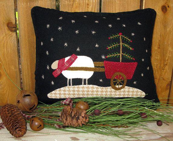 Winter Wool Applique Pillow Pattern Joy by SimplyUniqueBySheila, $7.95