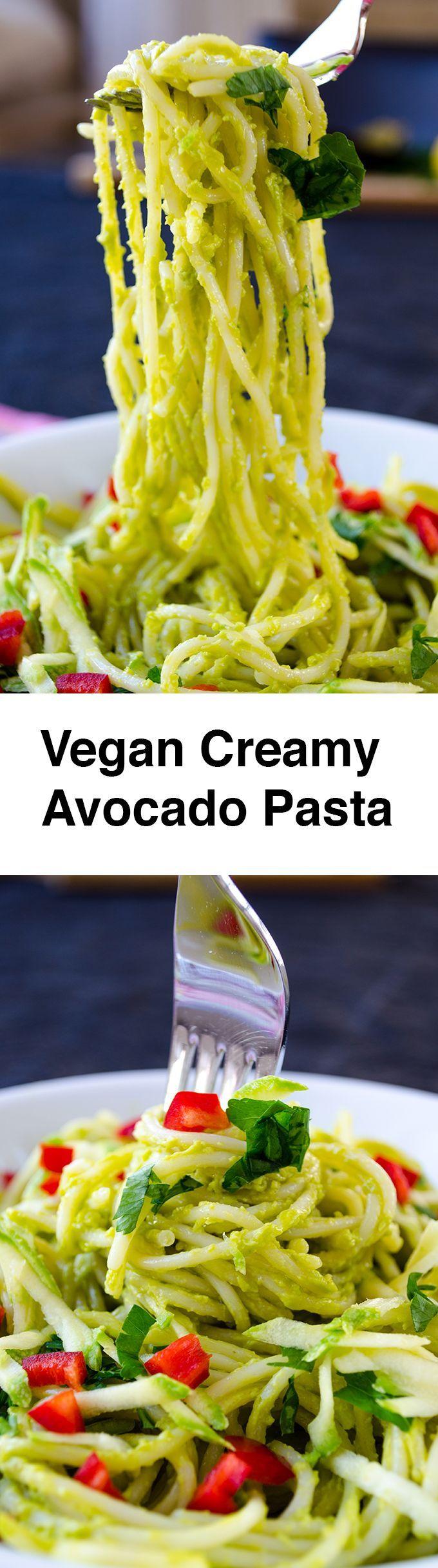 Vegan Creamy Avocado Pasta   Recipe   Avocado pasta, Creamy avocado ...