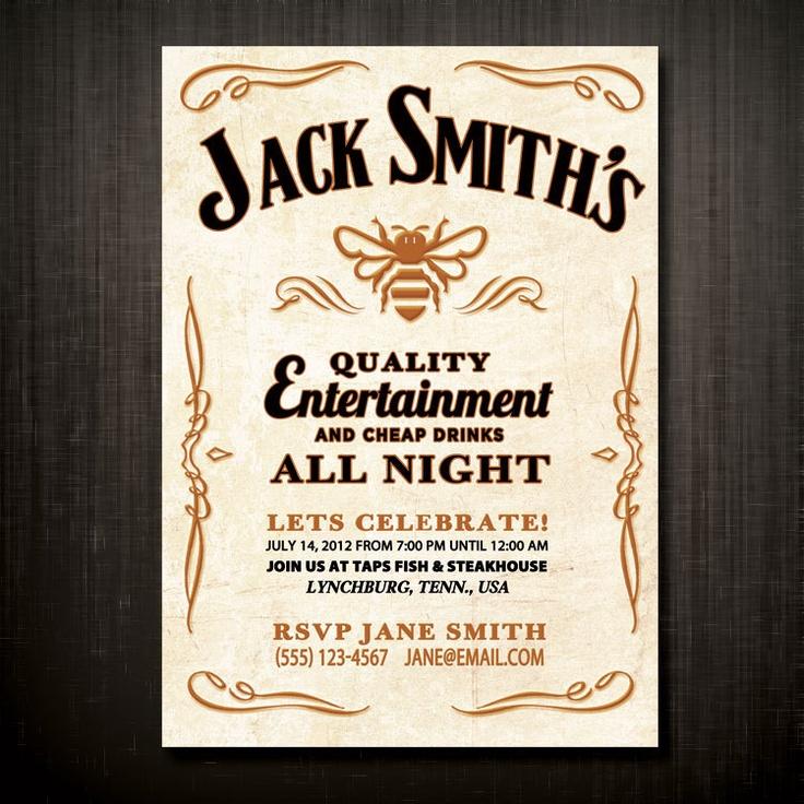 "50 Jack Daniels Original Tennessee Honey Custom Designed & Printed 5"" x 7"" Birthday Celebration Postcard Invitations. $49.00, via Etsy. (For APF birthday)"