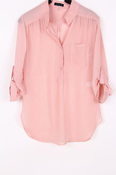 Polka Dot Chiffon Shirt in Aspen » Such a pretty color.