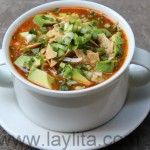 Turkey tortilla soup with avocado