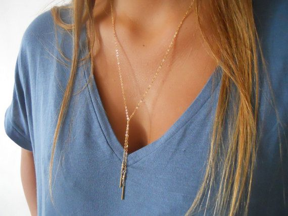 Minimal Gold Lariat Necklace Long Gold Necklace by annikabella