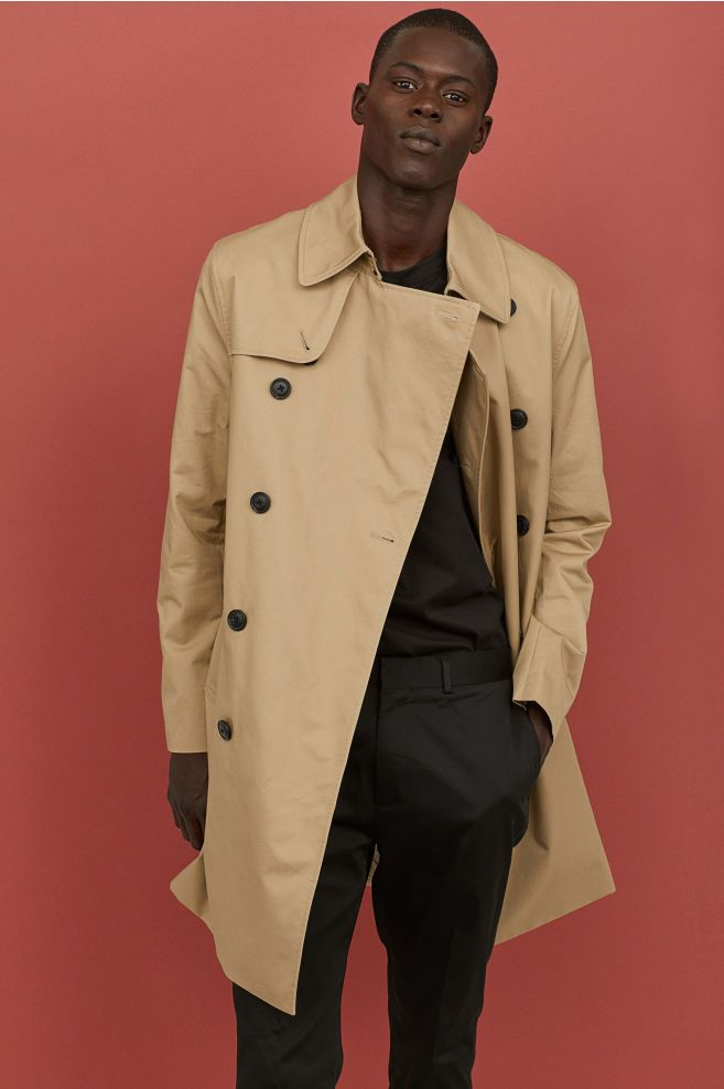 Abetteric Mens Knee Length Single Breasted Slim Casual Trench Coat