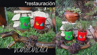 Macetas cilindricas restauradas. trabajo: retiro de pintura vieja, lijado, limpieza, pintura, diseño e impermeabilización.