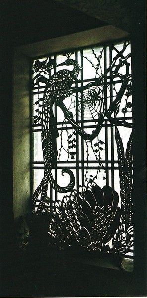gorgeous window - I think you can diy with some product or another.: Art Nouveau, Bedrooms Window, Gardens Window, Stained Glasses Window, Peacock Window, Window Design, Window Treatments, Window Art, Spiders Web