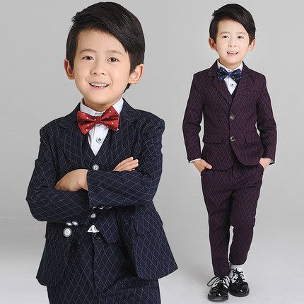 >> Click to Buy << (Jacket+Vest+Pants+Shirt+Bow tie)Boy Slim Fit Suits Plus Size 3-14T Boys Brown Wedding Suits With Pants Business Boy Formal Wear #Affiliate