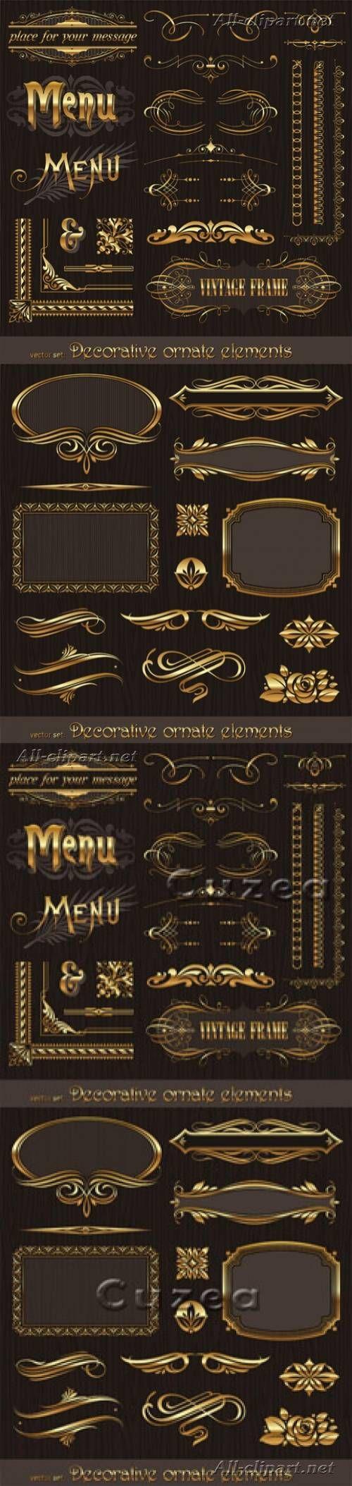 Золотые декоративные элементы и рамки в векторе | Golden decor vector