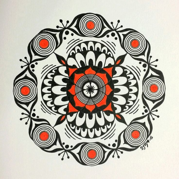 Mandala ink on paper.  Copic Markers and Multiliners on Bristol Board #mandala #inkwork #inkonpaper #originalart #100mandalas #copicart