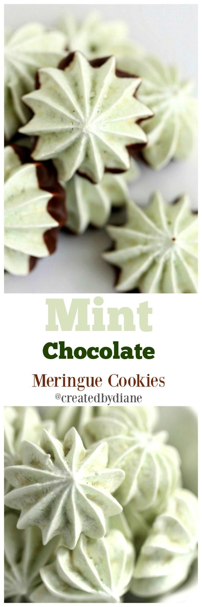 mint chocolate chip meringue cookie | Created by Diane