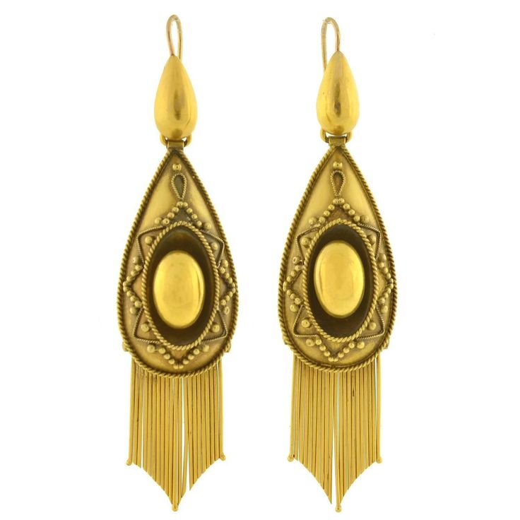 Victorian Dramatic Gold Etruscan Foxtail Fringe Earrings | See more rare vintage Dangle Earrings at https://www.1stdibs.com/jewelry/earrings/dangle-earrings