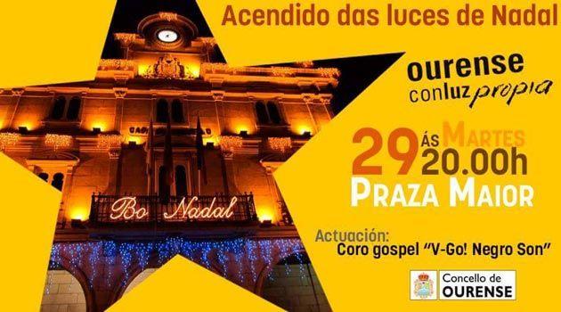 Encendido de las Luces de Navidad y concierto de V-Go! Negro Son. Ocio en Galicia   Ocio en Ourense. Agenda de actividades: cine, conciertos, espectaculos
