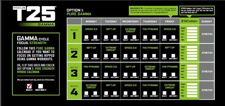T25 Gamma Calendar