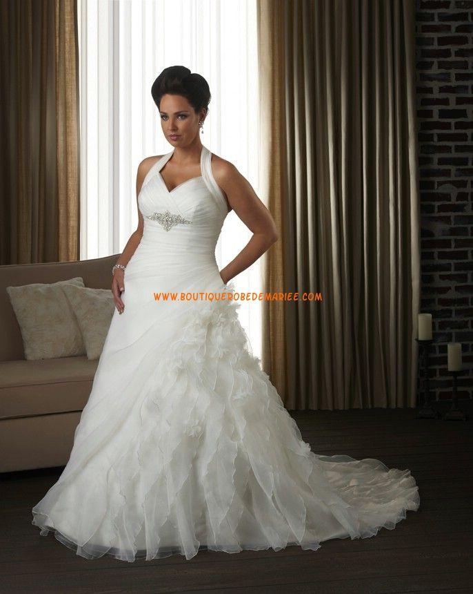 Robe de mariée grande taille organza perles bretelle autour de cou