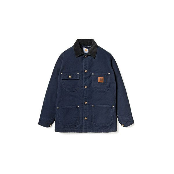 Carhartt Chore Coat Cotton Duck Canvas ❤ liked on Polyvore featuring outerwear, coats, jackets, coats & jackets, carhartt, chore coat, canvas coat, carhartt coats and blue coat