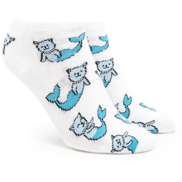 Forever21 Mermaid Cat Print Ankle Socks ($1.90) ❤ liked on Polyvore featuring intimates, hosiery, socks, short socks, forever 21 socks, cat print socks, forever 21 and tennis socks