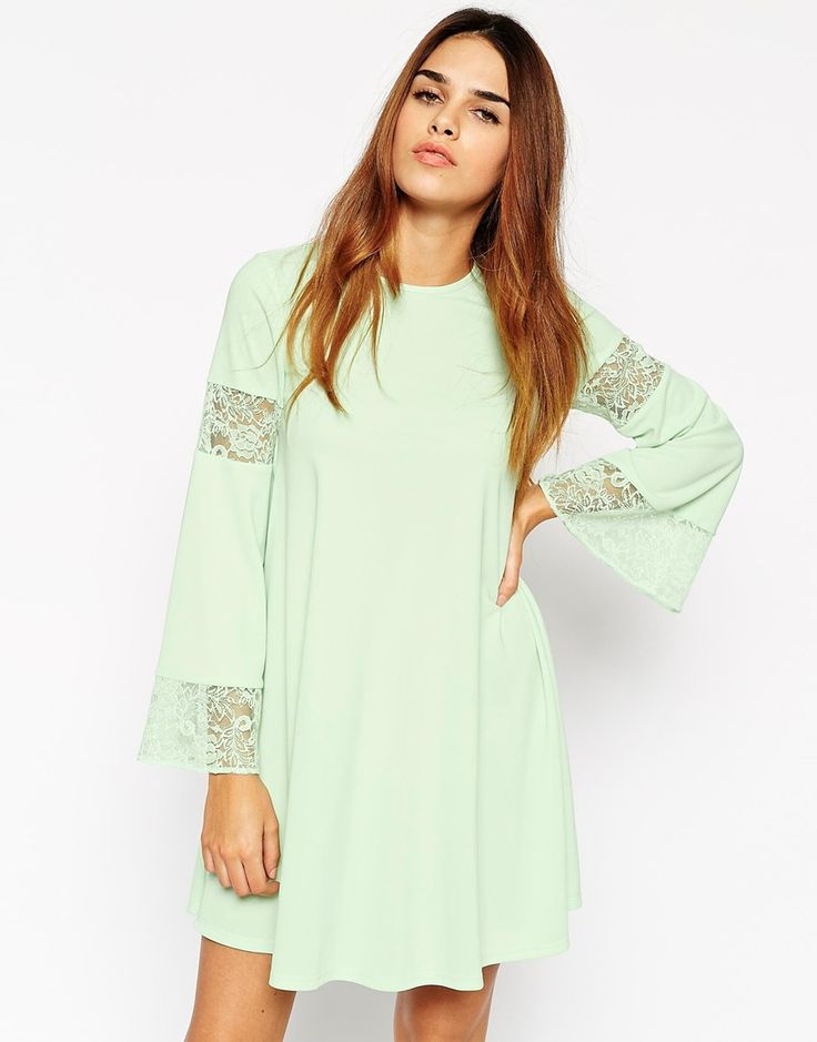 Boho Swing Dress With Long Sleeve And Lace Inserts