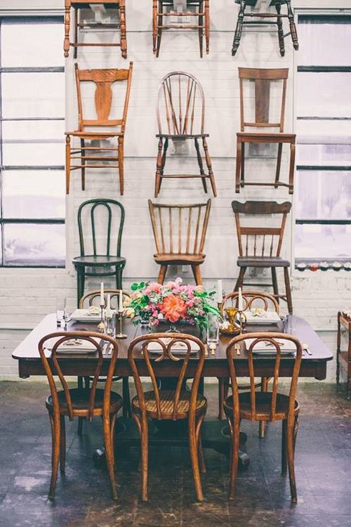 """I mean...it doesn't get much better than this!  One of our favorite showroom vignettes is """"The Chair Wall"""" *Paisley & Jade vintage & Eclectic Furniture Rentals for Events, Weddings, Theatrical Productions & Photo Shoots*"""