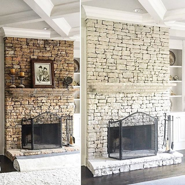 The Perfect Paint For Masonry Painted Stone Fireplace Whitewash