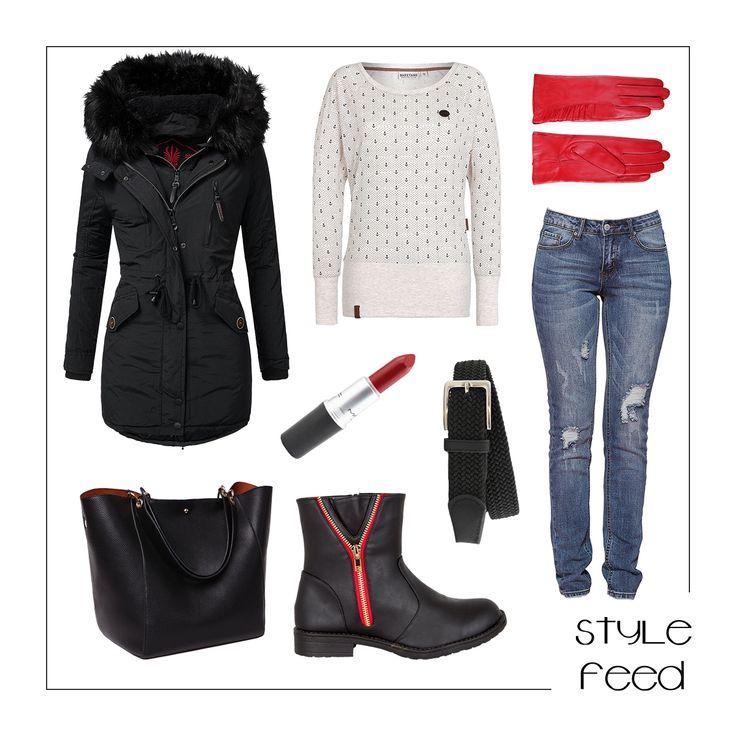 Da es häufiger im Frühling fröstelt, solltest du deinen Parka nicht wegpacken! Diese tollen, roten Halbstiefel kannst du klasse mit ein Paar roten Handschuhen und Lippenstift betonen! | Stylefeed