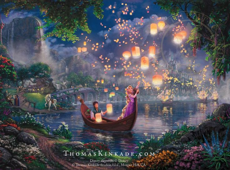 """Did you know that """"Tangled"""" is Disney's 50th animated full length movie? It is also one of the Thomas Kinkade Studios fan favorites! This week we are releasing a new Thomas Kinkade Studios painting based on another popular Disney movie. Can you guess what it is?  Click the Pin to see """"Tangled"""" in detail and stay tuned for the exciting new Disney release!  #disney #disneyprincess #tangled #thomaskinkade"""
