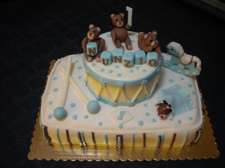 Torta orsetti, tamburo e cavallo a dondolo