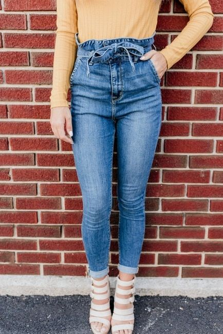 436a6feb9899 Size 9 High Waist Paperbag Skinny Jeans - Medium Wash | Christmas ...