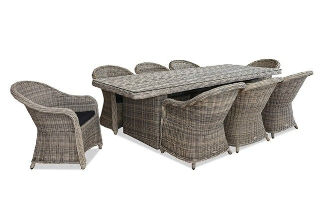 Hayman Outdoor Dining Setting With Tub Chair - Looking for a simple yet stunning large outdoor dining setting to complement your provincial outdoor area? We have this style available in two versions, one has full reclining chairs and this setting featured comes with a classic tub style outdoor dining chair.    Our Hayman outdoor wicker dining setting is made to commercial standards from round natural looking poly-wicker in a contemporary and versatile natural tone that is fully UV stable and…