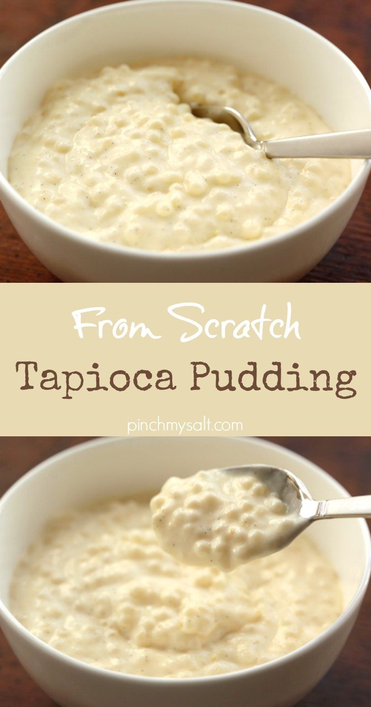 This is a rich and decadent homemade tapioca pudding recipe is made with vanilla bean and whipped cream. This delicious tapioca pudding is made from scratch and slow-cooked because it uses pearl tapioca instead of instant tapioca. It is definitely worth the less than 30 minutes it takes to cook and stir this pudding! | pinchmysalt.com