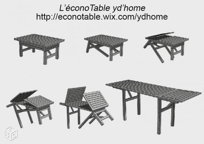 EconoTable table modulable transformable Ydhome L'éconotable est une table basse de salon modulable en table haute de salle à manger pouvant accueillir 8 personnes.  Sa transformation se fait facilement et rapidement (en 25 secondes). Il n'y a pas de rallonge à ajouter.  Invention française Mécanisme breveté Conception très robuste Fabrication traditionnelle (Assemblage tenons / mortaises chevillés)