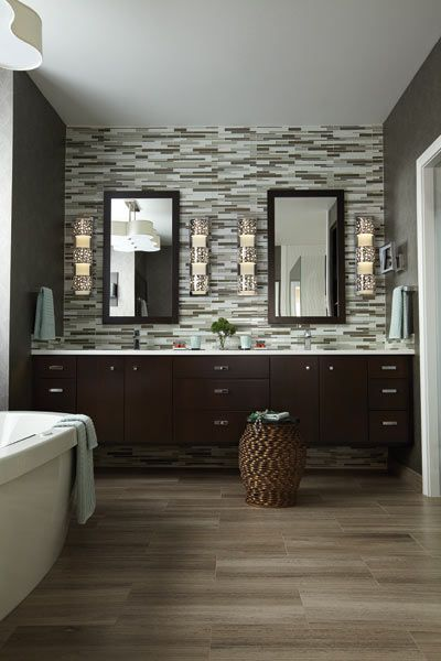 Optical Inspiration: Dark Cabinets with light wood flooring; also like this picture for the design of the bathroom, glass/tile backsplash. However flooring for the bathroom, we may choose to go with something easier to clean and more durable. Possibly a polished concrete floor?