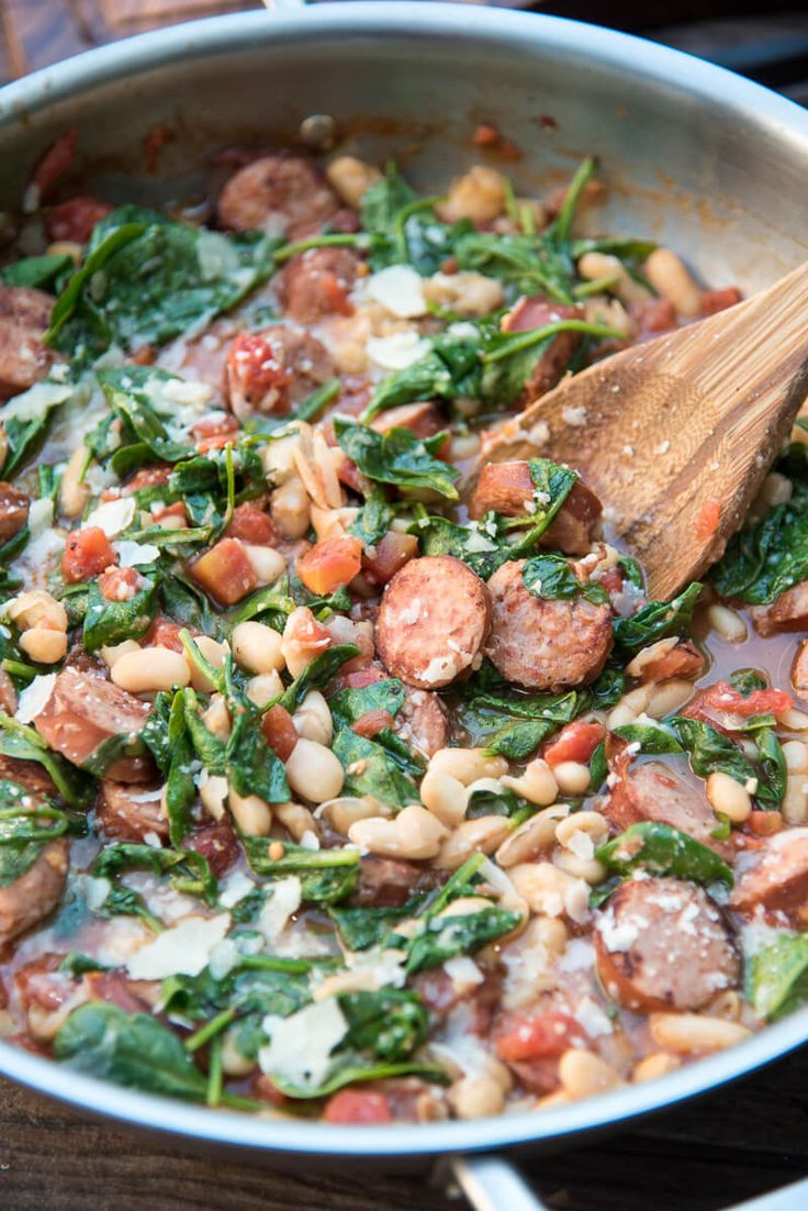Sausage Spinach and Bean -- Hearty, comforting, and ready in 30 minutes! ~ http://www.fromvalerieskitchen.com