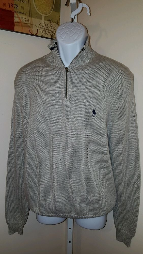 Nwt Polo Ralph Lauren Mens half zip sweater cotton light grey gray Large L #PoloRalphLauren #12Zip
