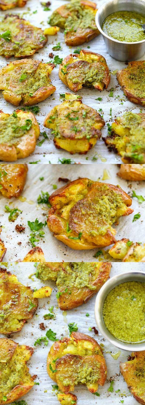 Garlic Pesto Smashed Potatoes – the best potatoes recipe ever with smashed baby potatoes topped with delicious garlic pesto. So good | rasamalaysia.com