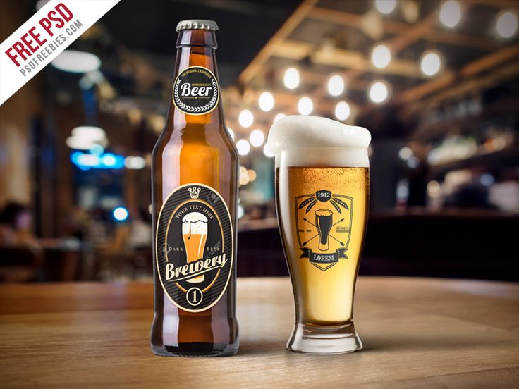Beer Bottle And Glass Mockup Free PSD | PsdFreebies | #free #photoshop #mockup #psd #beer #bottle #glass