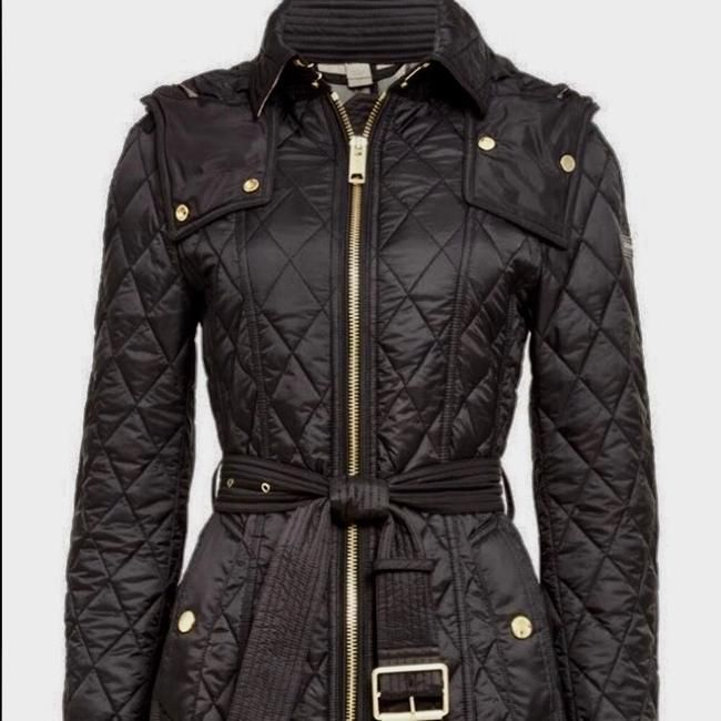 Burberry Brit Diamond Quilted Fox Fur Hooded Coat Black Jacket - 55% Off Retail