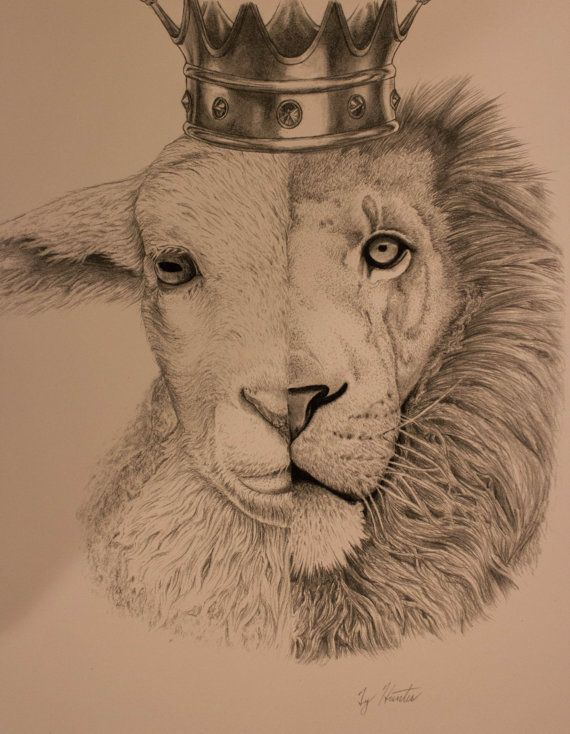 The Lion and the Lamb Print by TizzyTubs on Etsy