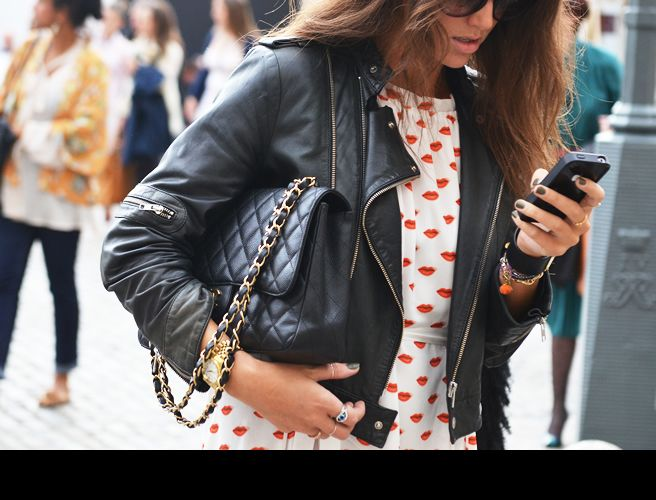 Lip Print BlouseClassic Leather, Chanel Bags, Street Style, Lips, Leather Jackets, Prints, London Fashion Weeks, Heart Dresses
