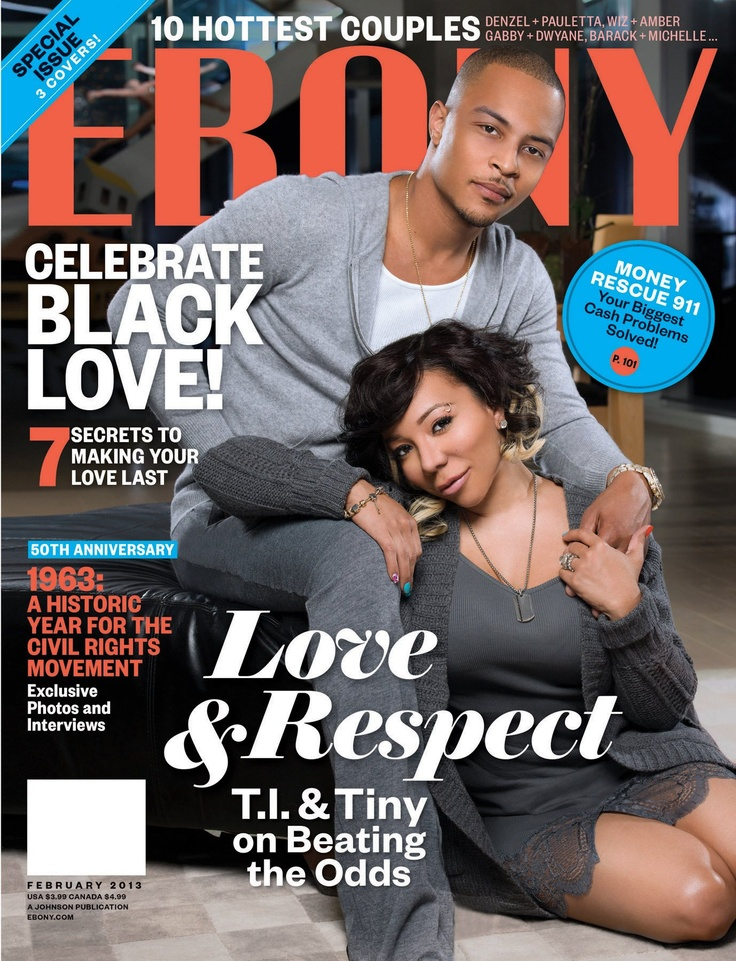 Congratulations to hip hop couple T.I. and Tiny on landing the cover of Ebony magazine together for the first time.