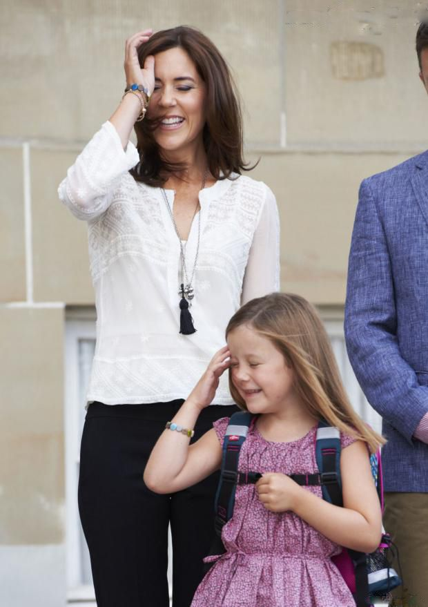 Danish Princess Mary accompanied her 6 years old daughter Princess Isabella for her first day at Tranegard School in Copenhagen on 13 Aug 2013