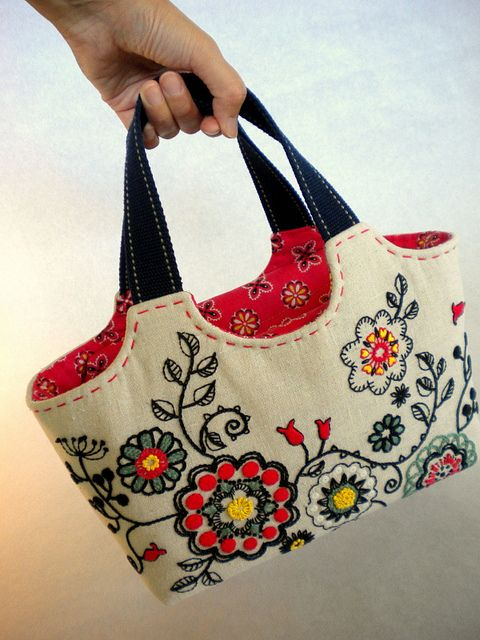 Folklore flower embroidery tote | Flickr - Photo Sharing!