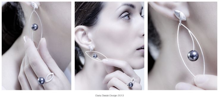 Silver and pearl earings which can be wear in 2 ways