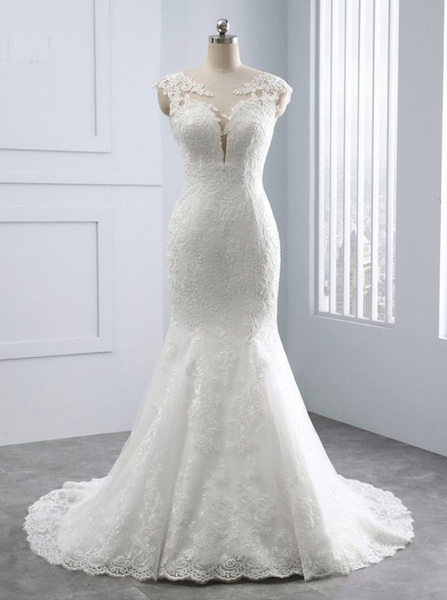 Ivory Mermaid Wedding Dresses, Lace Vintage Wedding Gown, 11682