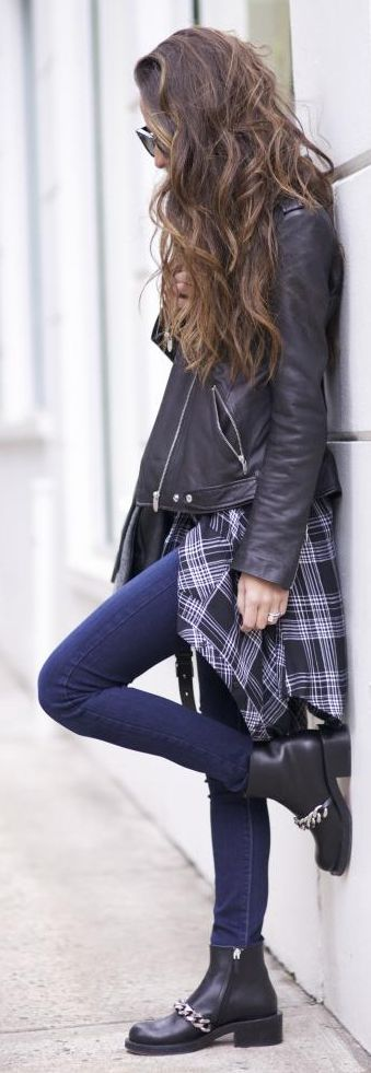 Black And White Waist Tied Grunge Button Down