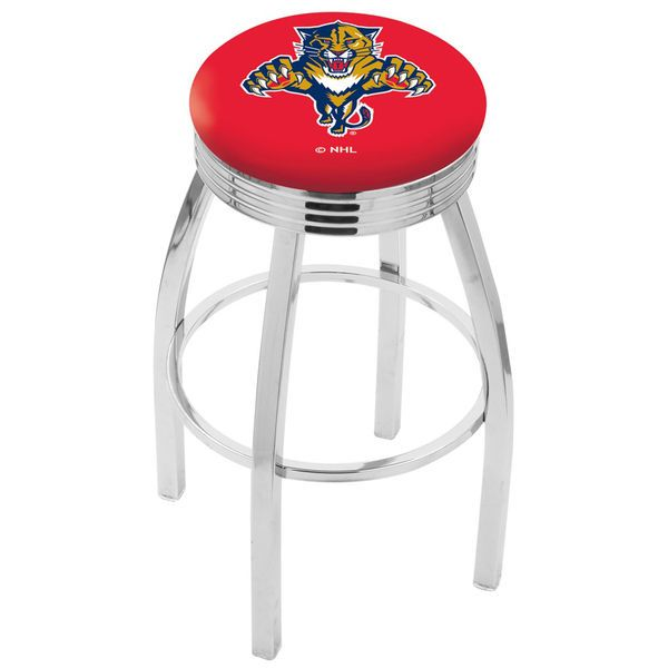 "Florida Panthers 25"" Chrome Swivel Bar Stool with 2.5"" Ribbed Accent Ring - $159.00"