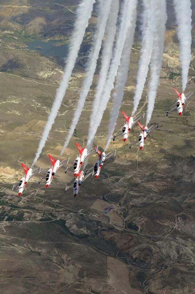 Turkish Stars (Turk Yıldızları) fly with eight Canadair NF-5s