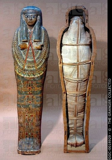 EGYPT: MUMMY, 2nd CENT. B.C.Mummy of priestess within original coffin of wood. 21st Dynasty, Egypt, c1985-935 B.C.