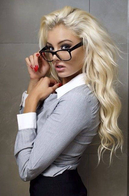 Hot sexy blonde girl with glasses hope