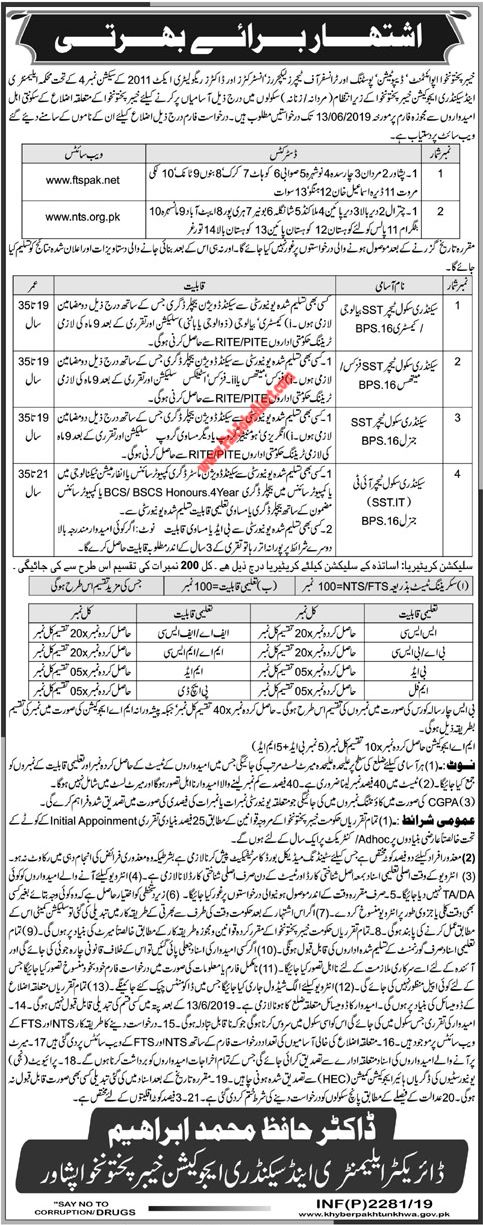 SST Jobs 2019 in Elementary & Secondary Education Department KPK, NTS & FTS